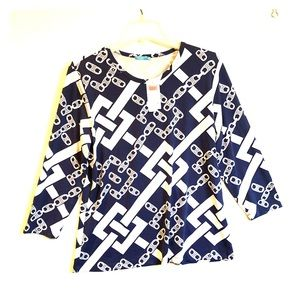 J. McLaughlin Navy and White Knit TOP XL NWT❣️